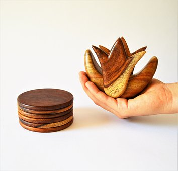 Coaster Set, Wooden Coaster, Lotus Flower, Egypt