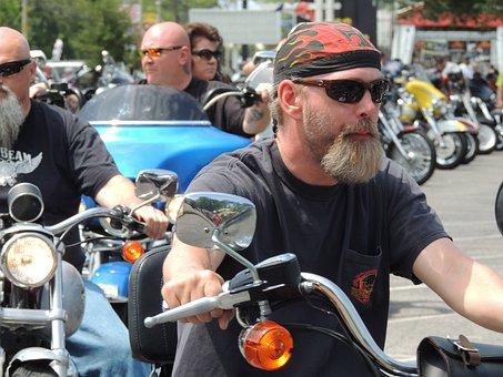 Motorcycle, Harley, Colorful, Biker, Beard, People