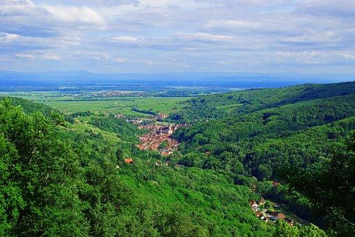 Landscape, Alsace, France, Nature, Field, Village