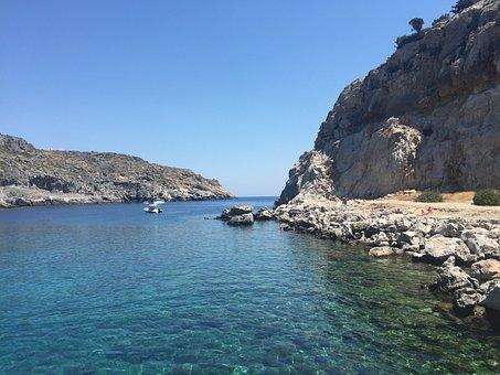 Greece, Kallithea, Rhodes, Faliraki, Summer, Bay