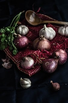 Onion, Garlic, Vegetable, Fresh, Wooden Spoon, Herb