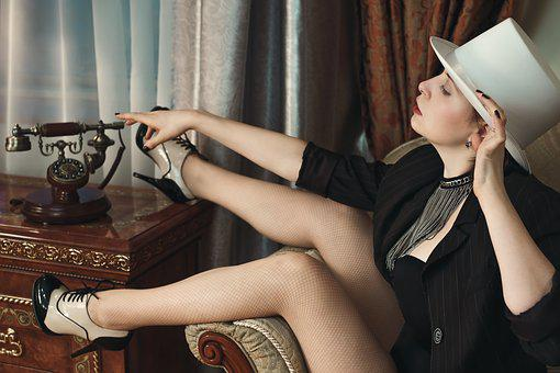 Girl, Hotel, Burlesque, Hat, Phone, Hotel Room, Leg