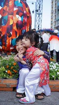 Kids, Flower, Hug