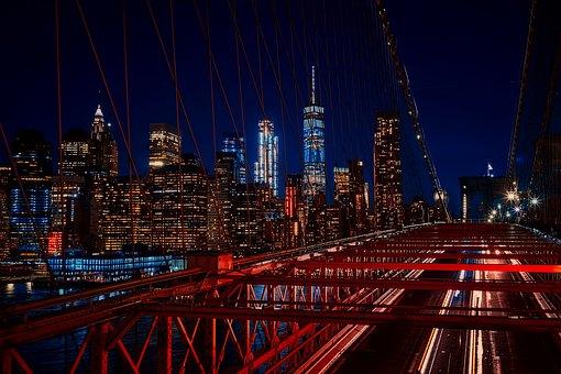 Brooklyn Bridge, New York City, Night, Lights