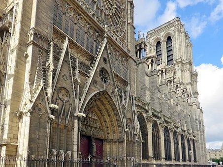 Paris, Notre-dame, North Side, Tower, Portal, Transept