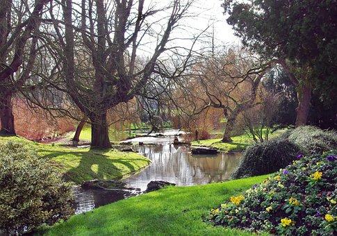 Roubaix, Parc Barbieux, Lake, Cascade, Uk, Trees, Light