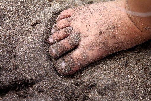 Feet, Bebe, Sand, Fingers, Nail, Child, Beach, Shore