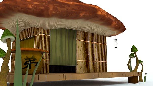 Blender 3d, Cgi, 3d Model, Mushroom World, Mushroom Hut