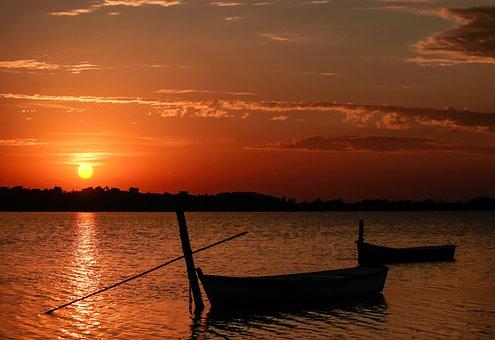Lagoon Ibiraquera, Pond, Santa Catarina, Canoe, Fishing