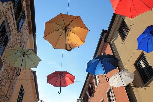 Umbrellas, Colorful, Novigrad, Croatia, Color