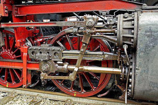 Steam Locomotive, Drive, Right, Well-oiled, Cylinder