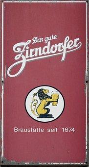 Email Sign, Zirndorfer, Beer, Enamel, Shield, Old Sign