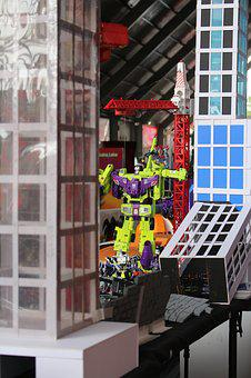 Transformers, Green, Street, City, Toys, Fight