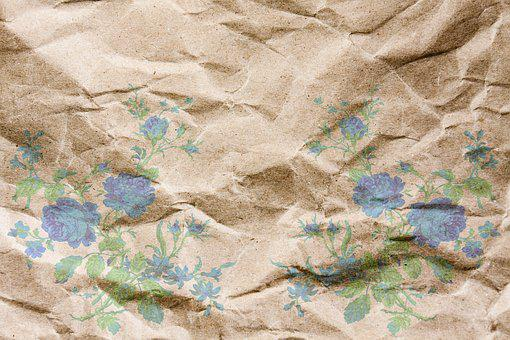 Paper, Background, Crumpled, Fold, Flowers, Blue