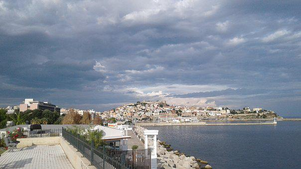 Greece, Kavala, Kastle, Port, Sea, Castro, Clouds