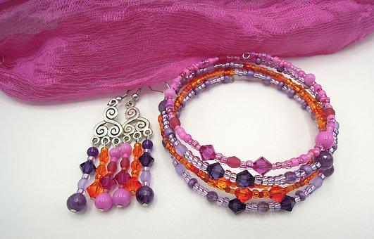 Jewelry, Bracelet, Earrings, Beads, Fashion, Purple