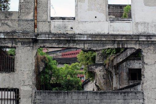 Ruin, Broken, Hole, Grey, City, Wall, Masonry