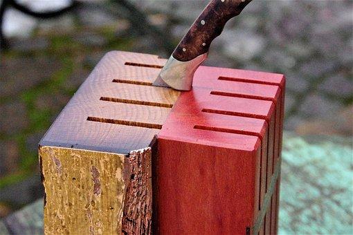 Knife Block, Anike Oak Beams, Wood, Gold, Grain, Noble