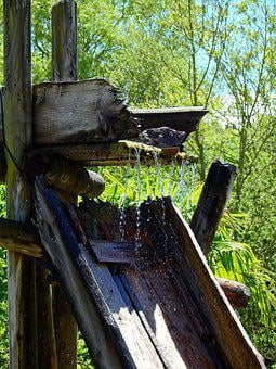 Water, Gutter, Gully, Wood, Wood Tray, Flow, Wet, Old