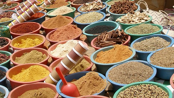 Market, Spices, Condiments, Foods Coloured, Oriental
