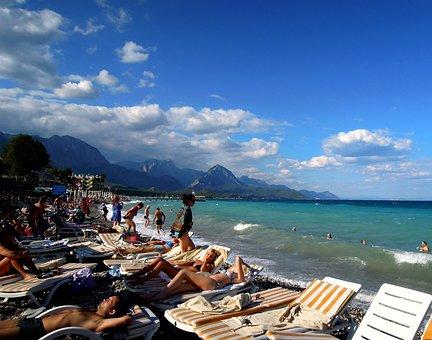 Sea, Beach, People, Sunbathing, Pebbles, Stones