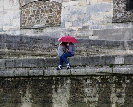 Red, Umbrella, Paris, Rain, People, Color, City