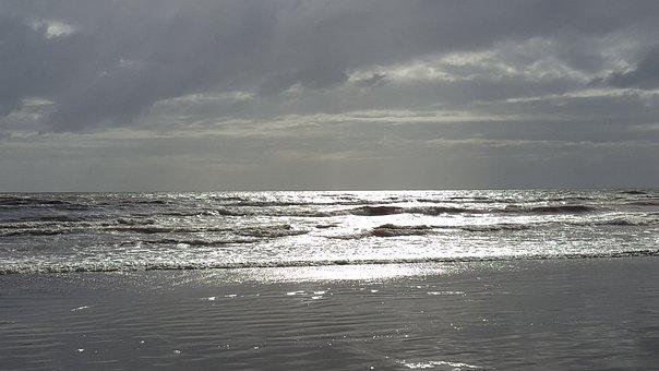 Beach, Sun, Grey, Sky, Water, Sea, Ocean, Sand