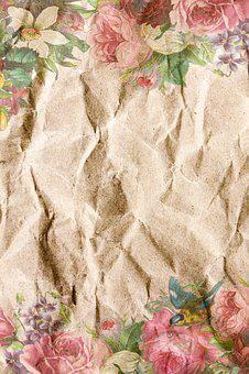Paper, Crumpled, Vintage, Shabby Chic