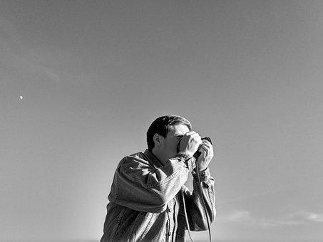 Photographer, Bw, Guy, Sky, Minimalism, Profile, One