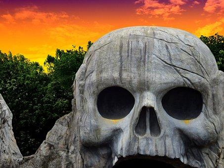 Stone, Rock, Head, Skull And Crossbones, Skull