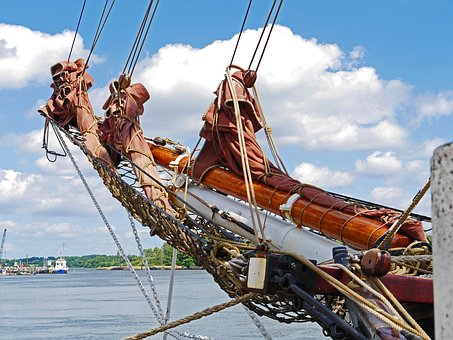 Tall Ship, Rigging, Bowsprit, Reefed, Klüver, Network