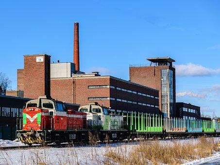 Train, Factory, Railway, Sky, Track, Blue