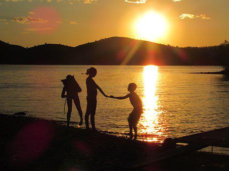 Summer Fun, Lake, Cousins, Sunset, Water, Nature, Young