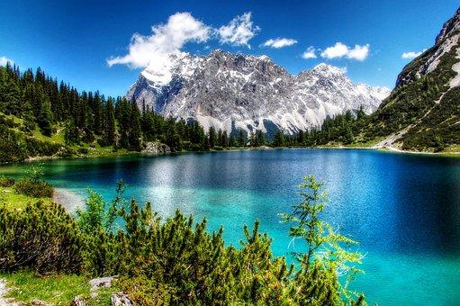 Seebensee, Zugspitze, Alpine, Landscape, Summit