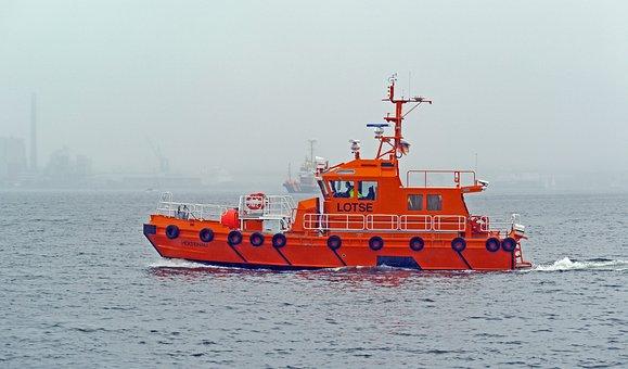 Pilot Boat, Fog, Kieler Firth, Baltic Sea, Kiel