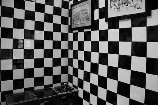 Squares, Black And White Tiles, Cafe, Sitting Area