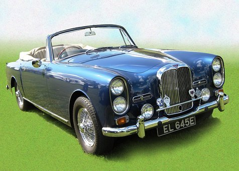 Alvis, Cabriolet, Artwork, Blue, Metallic, Brand