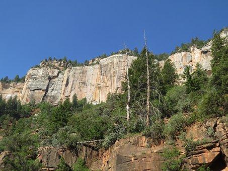 Grand Canyon, North Rim, Rock Face, Colorful, Landscape