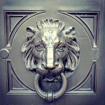Lion, Knocker, Door, Head, Metal, Bronze, Decoration