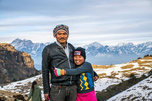 Family, Father, Daughter, Mountain, Happiness, Kid