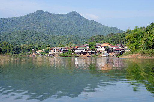 Laos, Lake, House, Village, Reflections, Vang Vieng