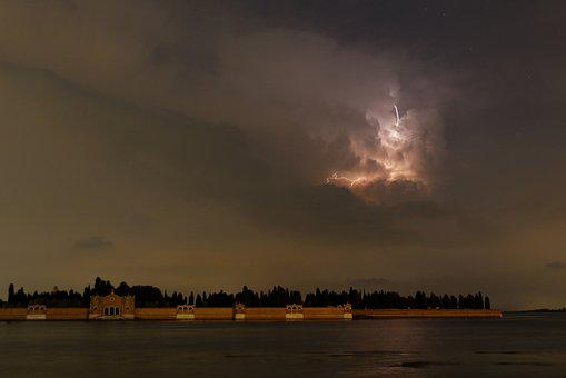 Storm, èclair, Venice, Nocturne, Meteorology, Lightning