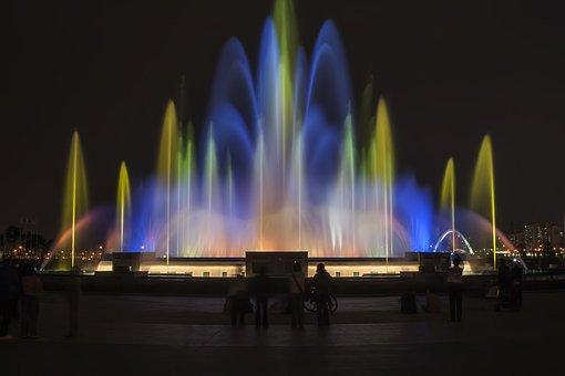 Lake Park, Fountain, Night View, Night