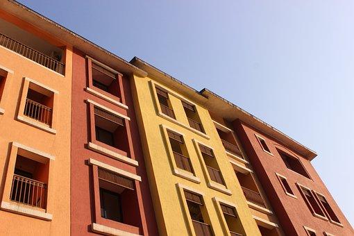 Building, Red, Yellow, Orange, Construction