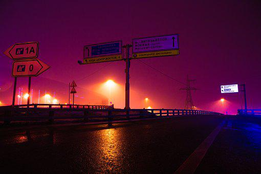 Night, Road, Mkad, Lights, Megalopolis, Russia
