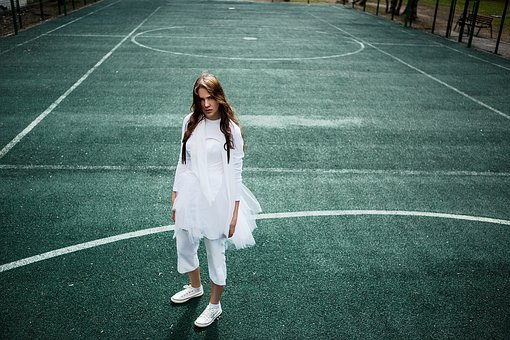 Tennis Court, Girl, Dancer, Beauty, Style, Woman, Model