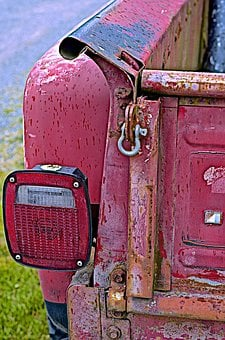 Old, Red, Truck, Tail Light, Vehicle, Vintage