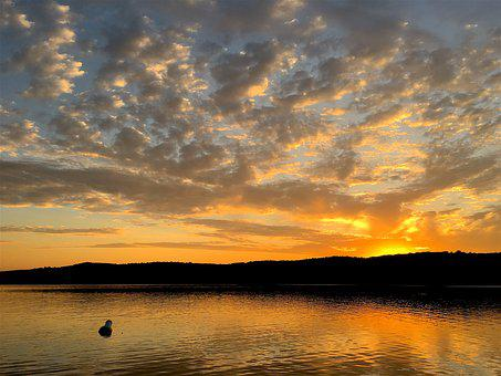 Lake, Sunset, Clouds, Sky, Water, Landscape, Nature