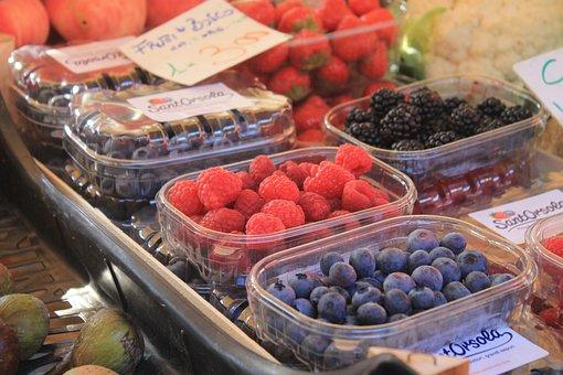Berries, Raspberries, Blueberries, Market