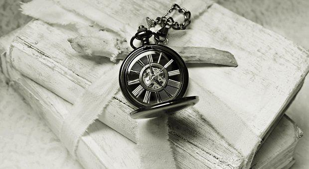 Books, Pocket Watch, Worn, Old, Time, Read, Font